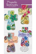 Angel Star Magnetic Bookmark Floral Crosses: Have Faith, Trust in the Lord, Believe, Be Thankful (Set of 4)