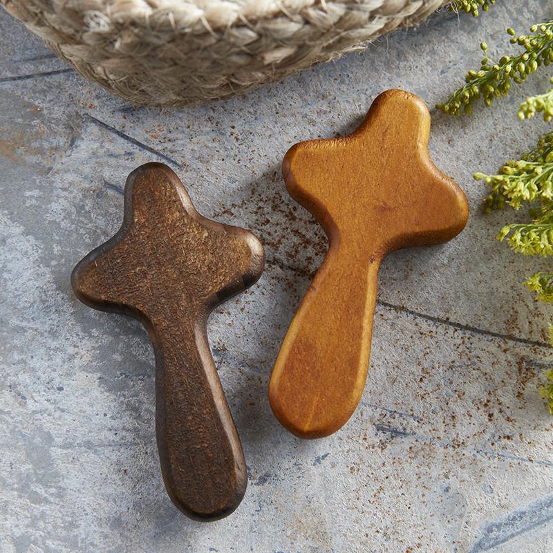 Christian Brands Hand Held Cross - Walnut Stain