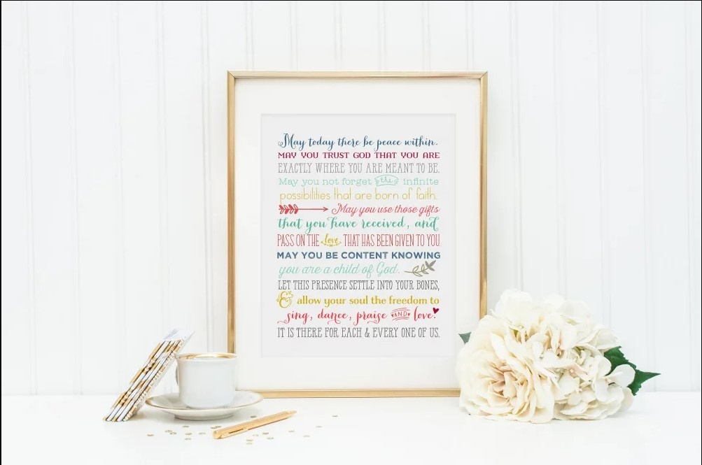 "Meyer Market Designs ""May today there be peace within."" Prayer Print"