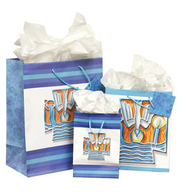 The Printery House Blue Baptism Gift Bag with Decorative Cross (Tissue Paper Included)