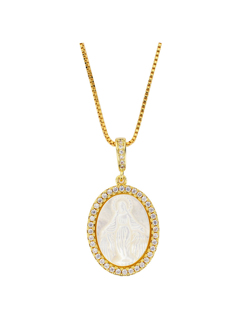 McVan Mother of Pearl Miraculous Medal Pendant with Gold Colored Chain Necklace