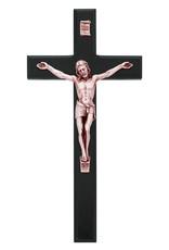 "McVan 10"" Black Wood Crucifx with Copper Corpus"