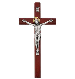 "McVan 10"" Cherry Stained Wood Crucifix with Silver Oxidized Corpus"