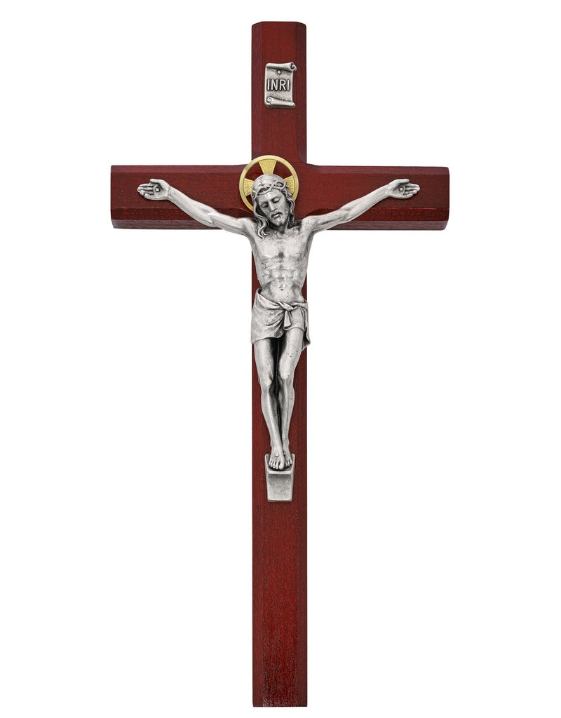 McVan 10in Cherry stained wood with silver oxidized corpus and INRI boxed