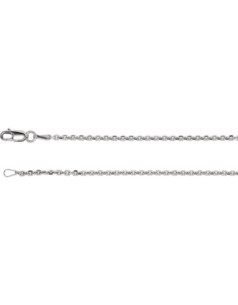 "Stuller Rhodium-Plated Sterling Silver 1.75 mm Diamond Cut Cable 24"" Chain"