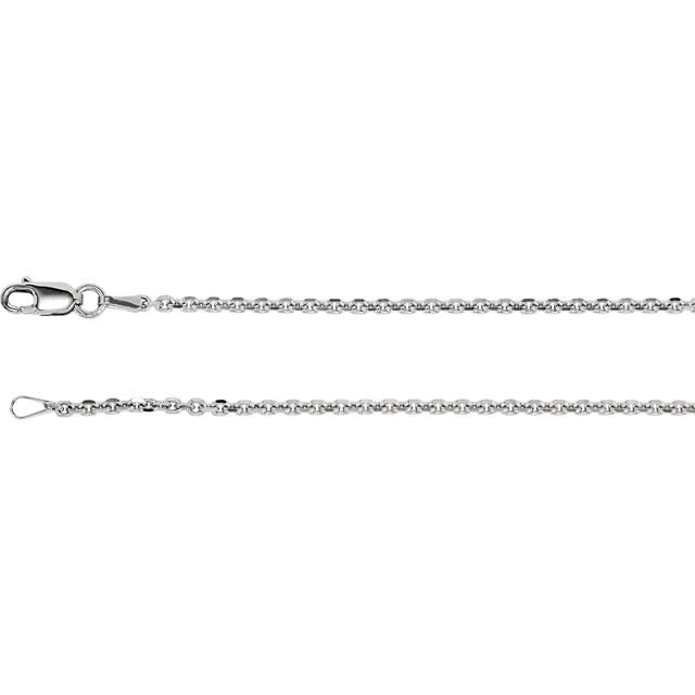 """Stuller Rhodium-Plated Sterling Silver 1.75 mm Diamond Cut Cable 24"""" Chain"""
