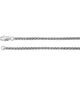 """Stuller Rhodium-Plated Sterling Silver 2.4 mm Wheat 24"""" Chain"""