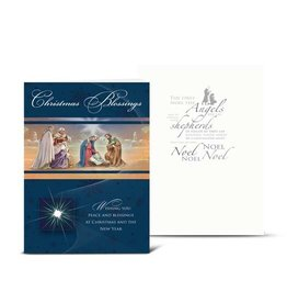 "WJ Hirten Box of 10 ""Christmas Blessings"" Nativity with Magi Christmas Cards"
