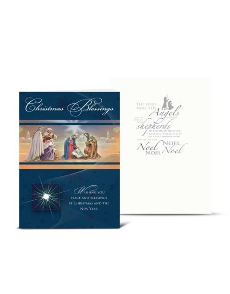 "WJ Hirten Box of 10 ""Christmas Blessings"" Nativity with Magi Christmas Cards"