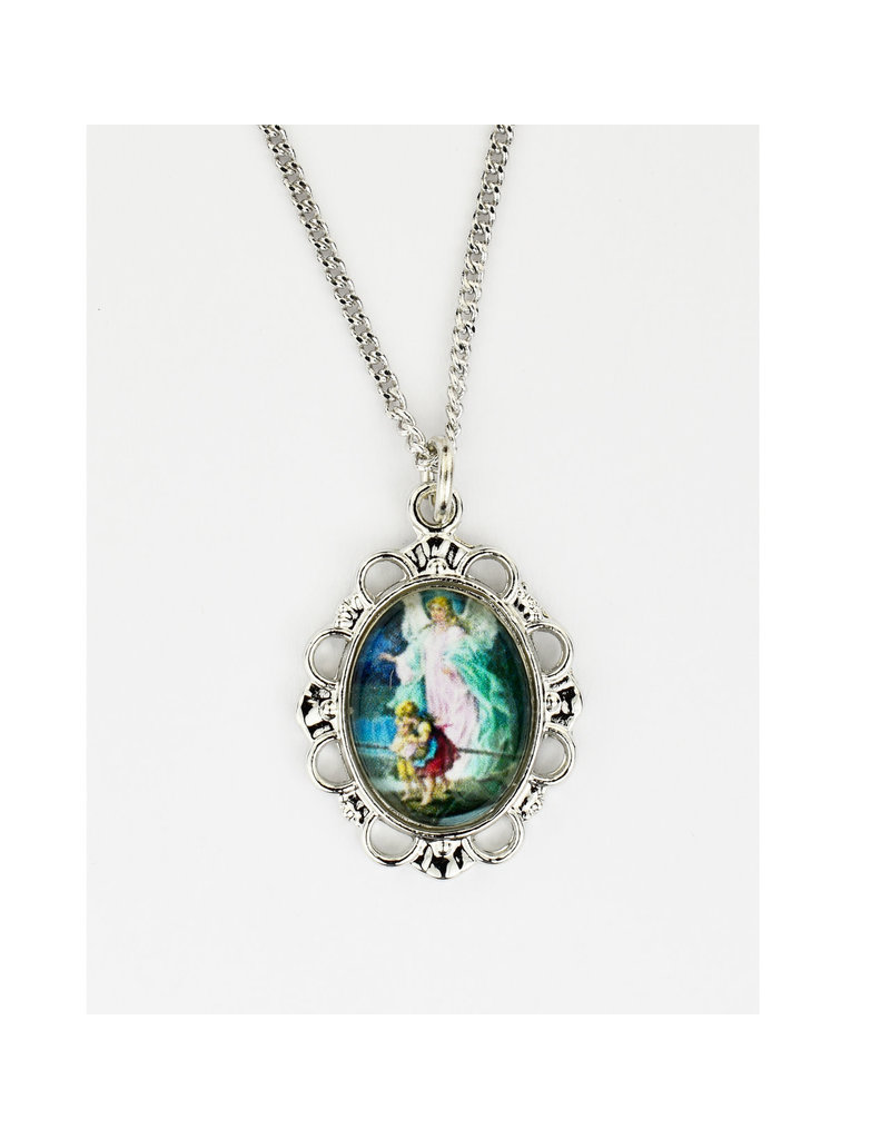 """McVan Guardian Angel Colorful Pendant on 16"""" Chain Necklace"""