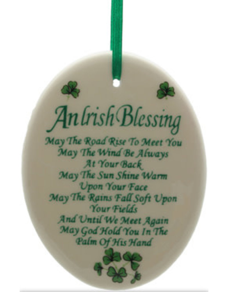 Liffey Artefacts BONE CHINA & CERAMICS - ORNAMENTS - HANGING ORNAMENTS - FINE BONE CHINA (WITH SHAMROCK LEAVES) - AN IRISH BLESSING - MAY THE ROAD - OVAL 3.25 X 2.75