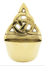 Liffey Artefacts SOLID BRASS - WATER FONT (WALL HANGING) - TRINITY KNOT - SMALL - (BOXED)  4.75 x 3.25