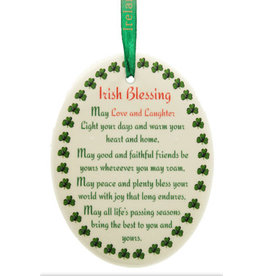"Liffey Artefacts BONE CHINA & CERAMICS - ORNAMENTS - HANGING ORNAMENTS - BLESSING ""MAY LOVE AND LAUGHTER.."" - COLOUR DECAL - OVAL 	3.25 X 2.75"