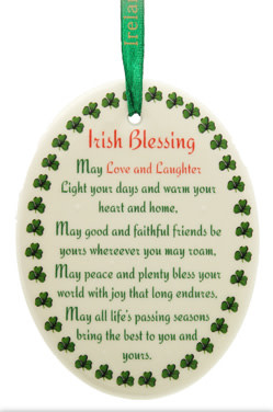 """Liffey Artefacts BONE CHINA & CERAMICS - ORNAMENTS - HANGING ORNAMENTS - BLESSING """"MAY LOVE AND LAUGHTER.."""" - COLOUR DECAL - OVAL 3.25 X 2.75"""