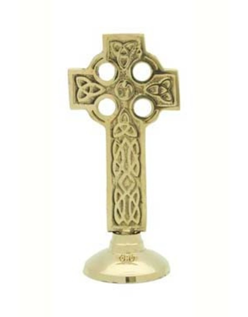Liffey Artefacts SOLID BRASS - CELTIC CROSSES (WALL HANGING) - BRASS - FLAT SMALL PLAIN - ROUND BASE
