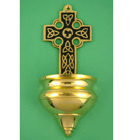 Liffey Artefacts Solid Brass Celtic Cross Wall Holy Water Font (with black detail) (Large)