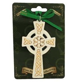 Liffey Artefacts BONE CHINA & CERAMICS - ORNAMENTS - HANGING ORNAMENTS - FINE BONE CHINA (WITH SHAMROCK LEAVES) - CELTIC CROSS WITH GOLD CELTIC 4.5 X 2.5