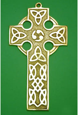 Liffey Artefacts Solid Brass Celtic Cross (plain) (Medium)