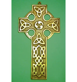 Liffey Artefacts Brass Celtic Cross Plain (Large)