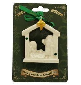 Liffey Artefacts Fine Bone China Nativity Ornament (with gold star and shamrock leaves)