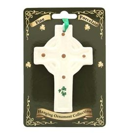 Liffey Artefacts Fine Bone China Celtic Cross Ornament (with shamrock leaves)
