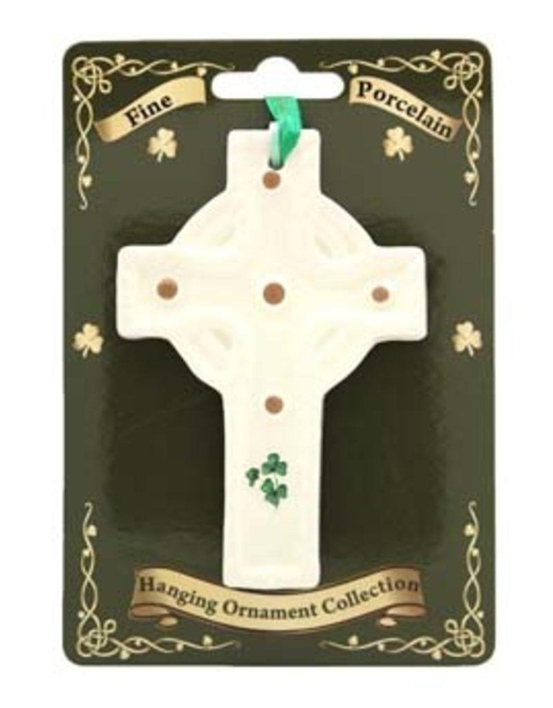 Liffey Artefacts Fine Bone China Celtic Cross Ornament (with shamrock leaves)