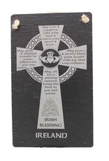 Liffey Artefacts Slate Wall Plaque with Image of Celtic Cross and Irish Blessing.
