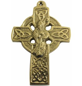 Liffey Artefacts Solid Brass Celtic Wall Cross (with St. Patrick)
