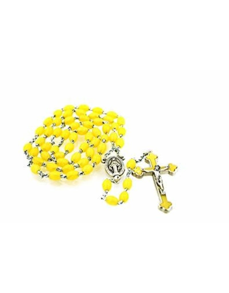 Religious Art Inc Quadlink Oval Bead Rosary with Colored Crucifix