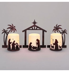 "Roman, Inc Nativity Led Candle With Metal Scene-3 Piece (7.5"")"