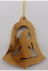 """EarthWood Ornament-Olive Wood-Angel In Bell (3"""")"""