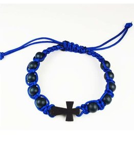 McVan Blue Corded Cross Bracelet Adult Card