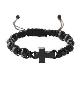 McVan Black Woven Cord Cross Bracelet Adult Card
