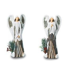 Angel With Snow Figurine 2-Piece Set