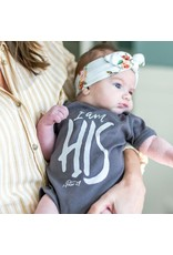 Etch I Am His Onesie in Charcoal (6M)