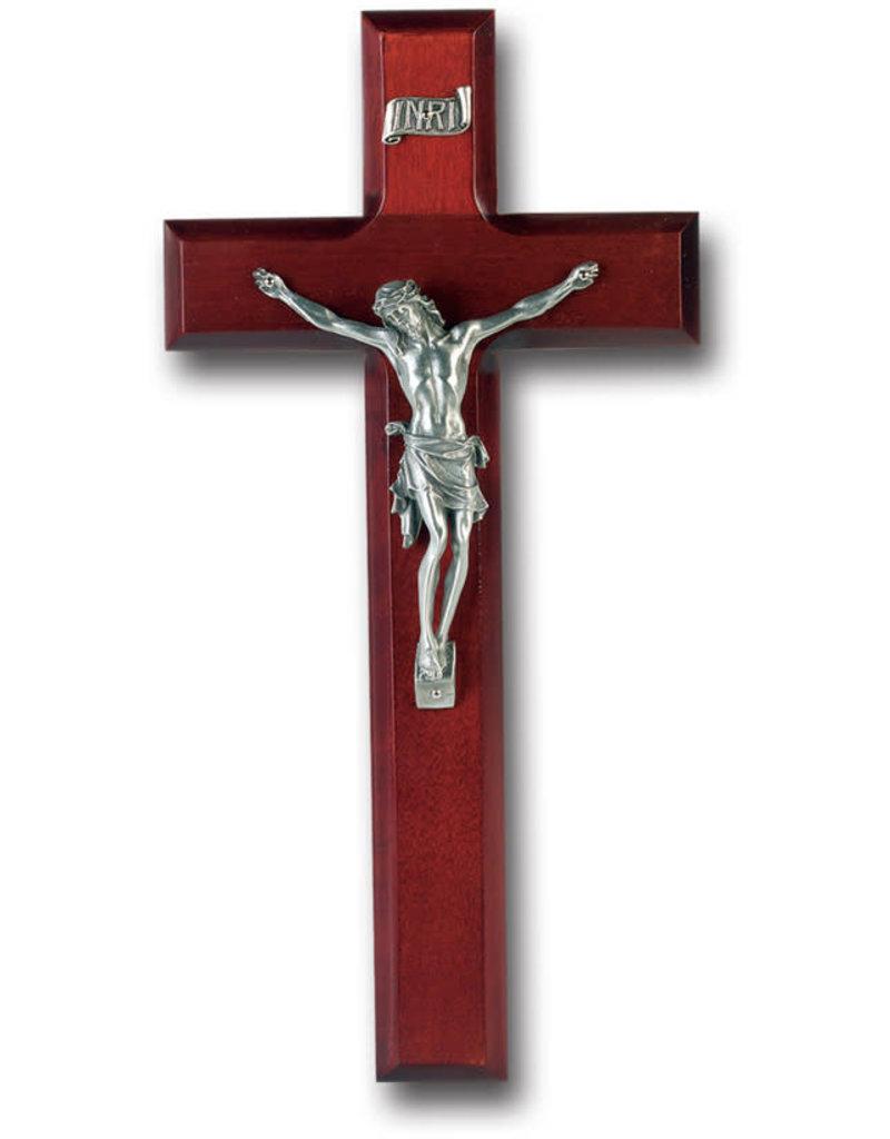 "WJ Hirten 10"" Dark Cherry Wood Crucifix with Pewter Corpus"