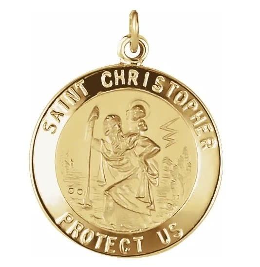 Stuller 14K Yellow 20 mm St. Christopher Medal