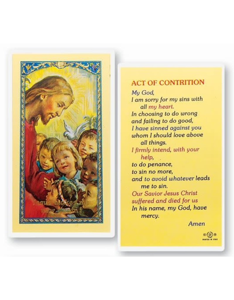 WJ Hirten Act of Contrition Children's Laminated Card
