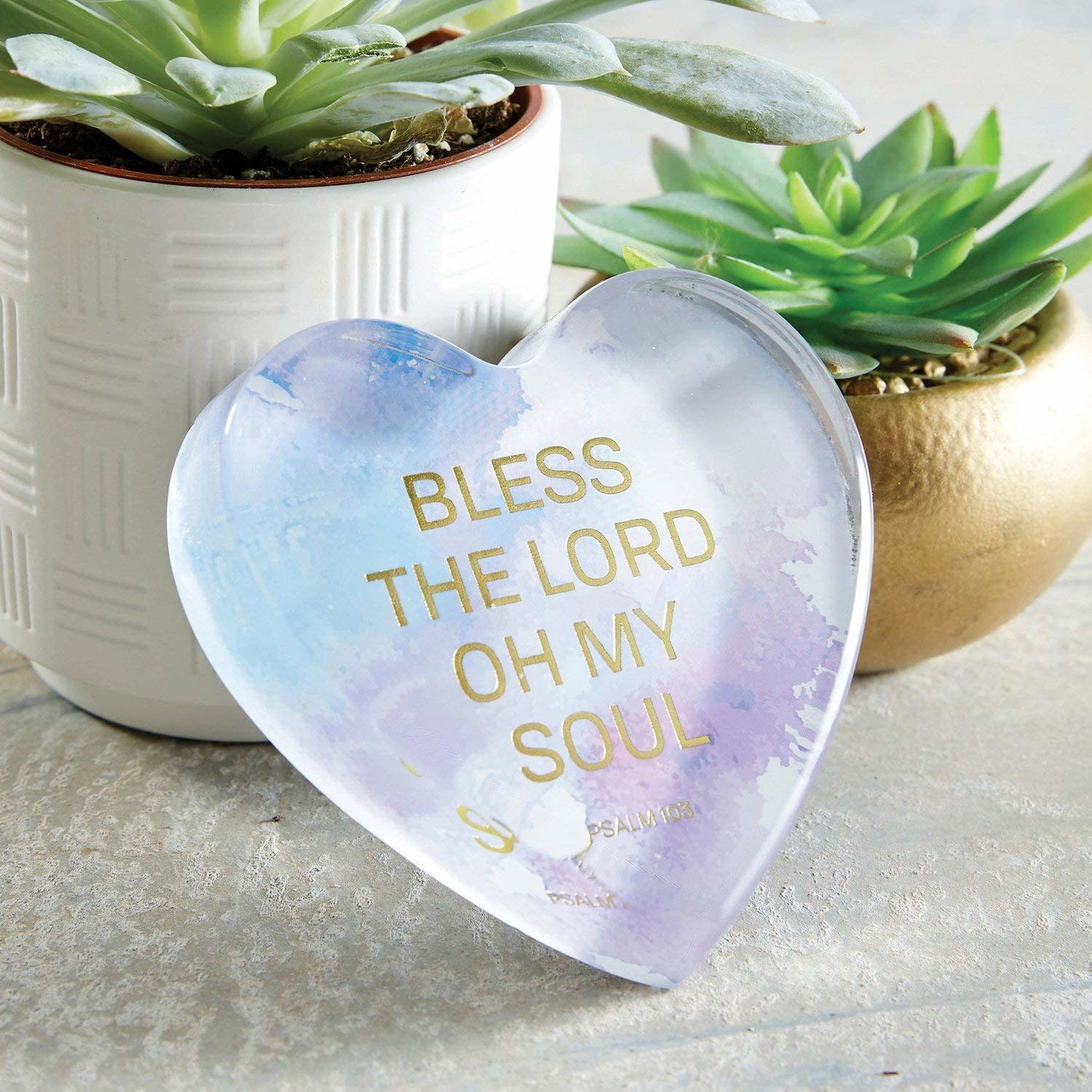 Heartfelt Tabletop Glass Heart Paperweight - Psalm 103: Bless the Lord