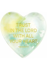 Tundra Tabletop Glass Heart Paperweight - Proverbs 3:5: Trust in the Lord