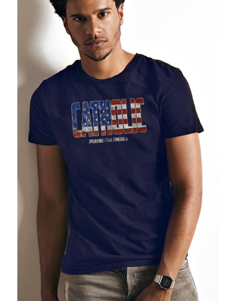 """Romantic Catholic """"Catholic Praying For America"""" T-Shirt"""
