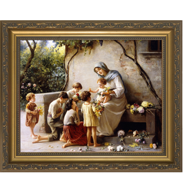 """Nelsons Fine Art and Gifts Adoration (Mary and Jesus with Children) by Guiseppe Magni Framed Art 11""""x14"""""""