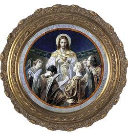 Nelson Fine Art Christ, Bread of Angels Canvas - Round Framed Art