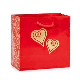 Red and Gold Valentine Scroll Heart Gift Bag