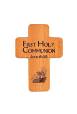 "HJ Sherman 1 3/4"" My First Holy Communion Pocket Cross with John 6:35"