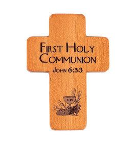 "HJ Sherman 1 3/4"" My First Holy Communion Pocket Cross with John 6:35"