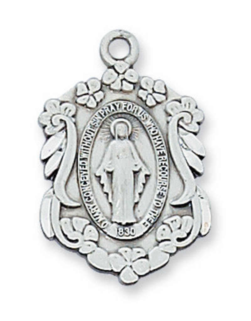 Sterling Silver Miraculous Pendant - Sterling Silver Miraculous with 18 in. Rhodium Plated Brass Chain and Deluxe Gift Box