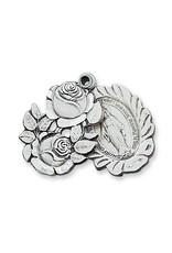 """McVan Sterling Silver Miraculous Rosebud Medal with 24"""" Rhodium Plated Continuous Chain"""