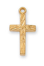 Gold over Sterling Cross Pendant - Gold Over Sterling Silver Cross with 16 in. Gold Plated Brass Chain and Deluxe Gift Box