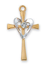 McVan Gold over Sterling Cross Pendant - Gold Over Sterling Silver Heart with 18 in. Gold Plated Brass Chain and Deluxe Gift Box